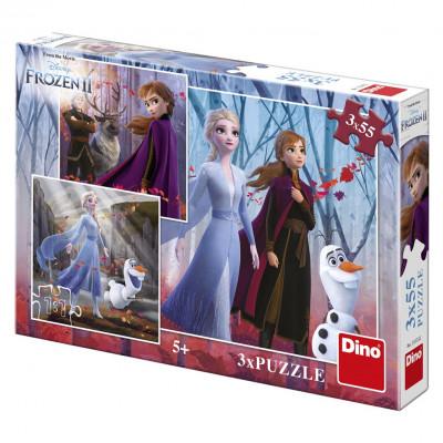 Dino Frozen/Ledové království II puzzle 3x55 dílků