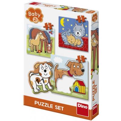 Dino Zvířátka baby puzzle 3, 4, 5 dílků