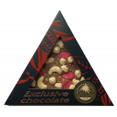 Čokoláda Exclusive trojúhelník 50g - Kešu, lísk. oříšek, růže a zlaté krystalky