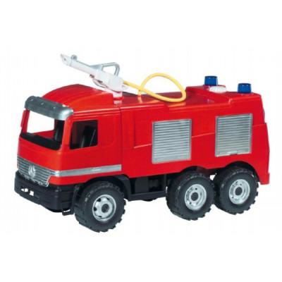 Lena Mercedes auto hasiči plast 60cm stříkací vodu nádržka 1,6l v krabici 68x38x27cm