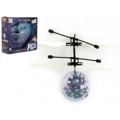 Vrtulníková koule průhledná létající plast 13x11cm s USB kabelem na nabíjení