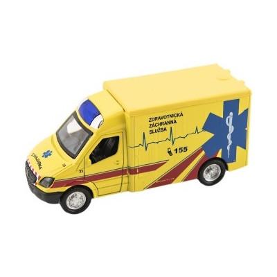 Auto ambulance kov/plast 12cm na zpětné natažení na bat. se zvukem se světlem cz design