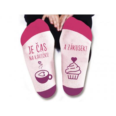 Dámské ponožky - Je čas na kávičku - vel. 39-42