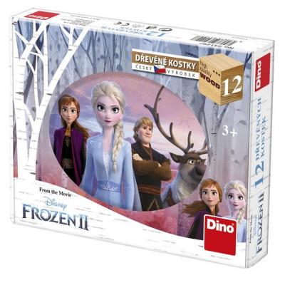 Dino Frozen II/Ledové království II dřevěné kostky 12 ks