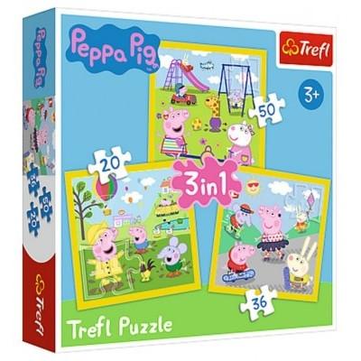 Trefl Puzzle 3v1 Prasátko Peppa/Peppa Pig Šťastný den prasátka 20, 36, 50 dílků