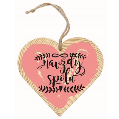 Dřevěné srdce 13 cm - Navždy spolu