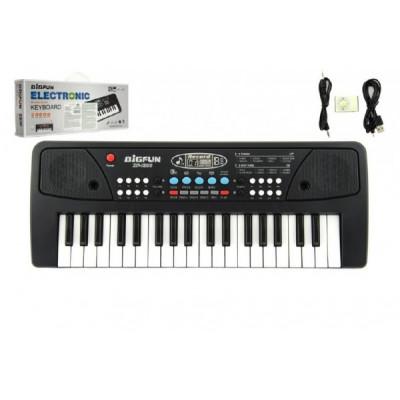 Piano/Varhany/Klávesy 37 kláves, napájení na USB + přehrávač MP3 + mikrofon 40cm