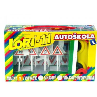 Stavebnice LORI 11 Autoškola Dopravní značky 16ks + 2 kužely + auto