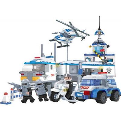Stavebnice Dromader 23001 Policie Auto+Vrtulník+Stanice 779ks