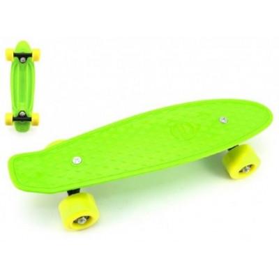 Skateboard pennyboard 43cm, nosnost 60kg plastové osy - zelený, žlutá kola