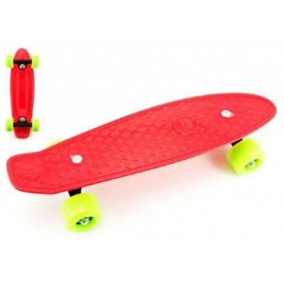Skateboard pennyboard 43cm, nosnost 60kg plastové osy - červený, zelená kola