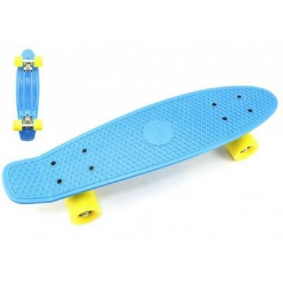 Skateboard pennyboard 60cm nosnost 90kg, kovové osy - modrý, žlutá kola