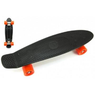 Skateboard pennyboard 60cm nosnost 90kg, kovové osy - černý, oranžová kola