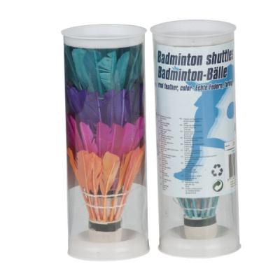 Košíčky na badminton péřové barevné 4ks v tubě 6x18x6cm