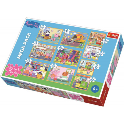 Trefl Puzzle 10v1 Prasátko Peppa s přáteli 20, 35, 48 dílků