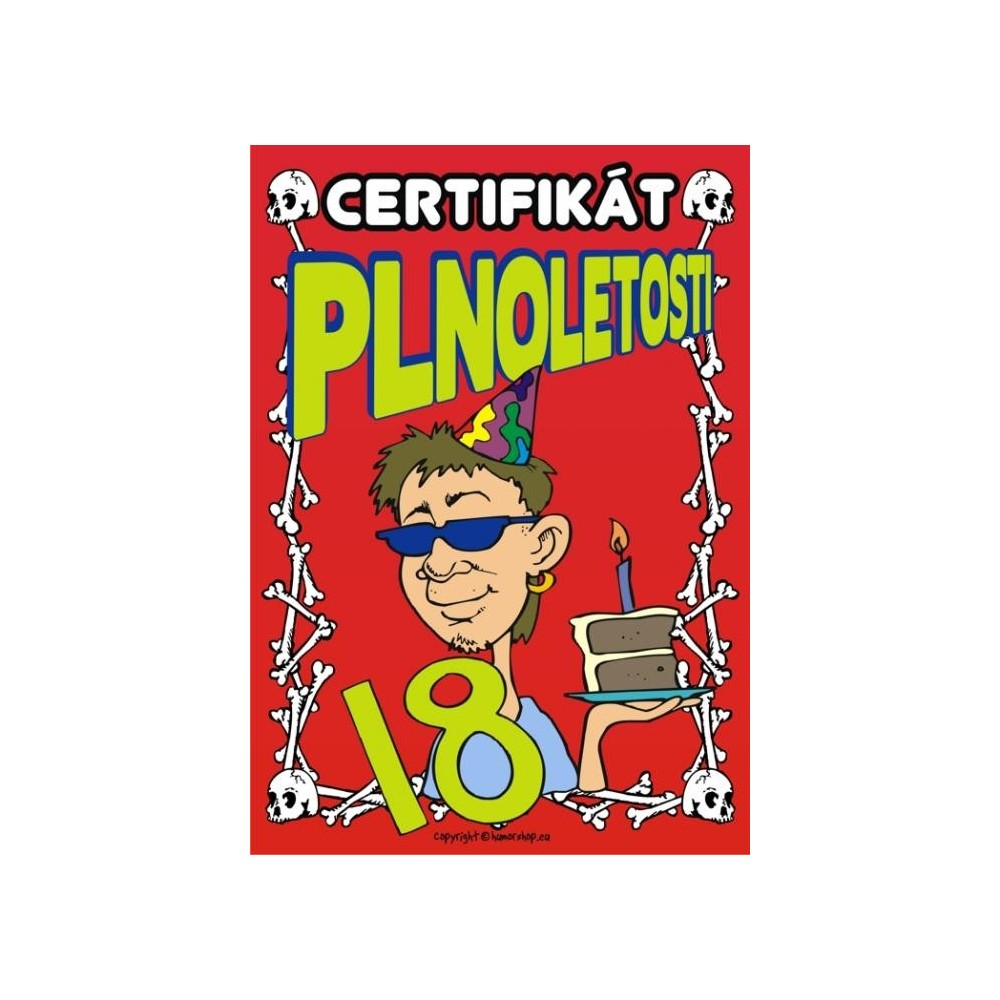 Certifikát plnoletosti 18 (kluk)