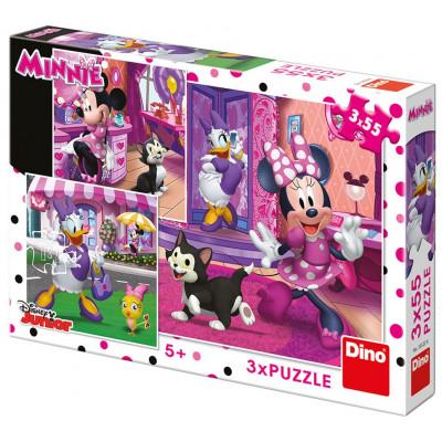 Dino Den s Minnie puzzle 3x55 dílků