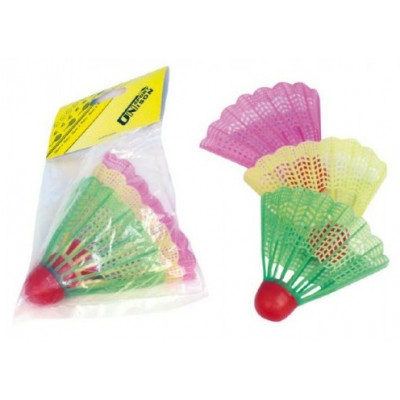 Unison Badmintonové míčky/košíčky barevné plast 3ks v sáčku 11x17cm
