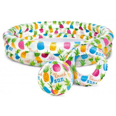 Intex 59469 Sada bazén 3 komory 132x28cm + kruh 51cm + míč 51cm Ananas 2+