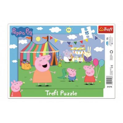 Trefl Puzzle deskové V zábavním parku Prasátko Peppa/Peppa Pig 15 dílků
