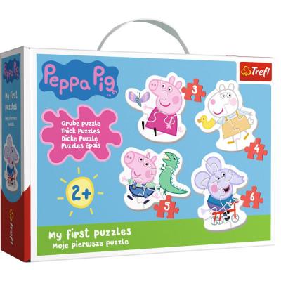 Trefl Puzzle pro nejmenší Prasátko Peppa/Peppa Pig 3, 4, 5, 6 dílků 2+