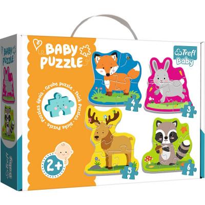 Trefl Puzzle baby Zvířátka v lese 4v1 3, 4, 5, 6 dílků 2+