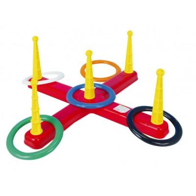 Házecí hra kříž s kruhy plast 5ks