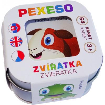 Hmaťák Pexeso Zvířátka 64 karet v plechové krabičce