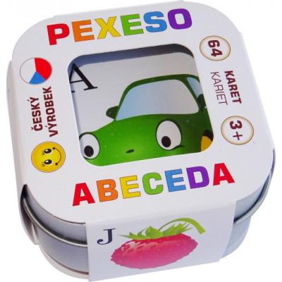 Hmaťák Pexeso Abeceda 64 karet v plechové krabičce