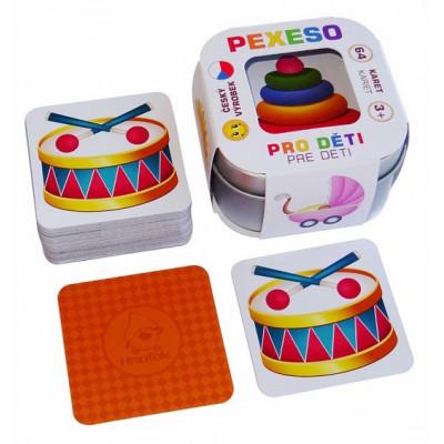 Hmaťák Pexeso Pro děti 64 karet v plechové krabičce