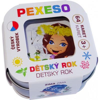 Hmaťák Pexeso Dětský rok voděodolné 64 karet v plechové krabičce