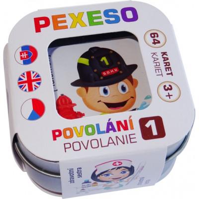 Hmaťák Pexeso Povolání voděodolné 64 karet v plechové krabičce
