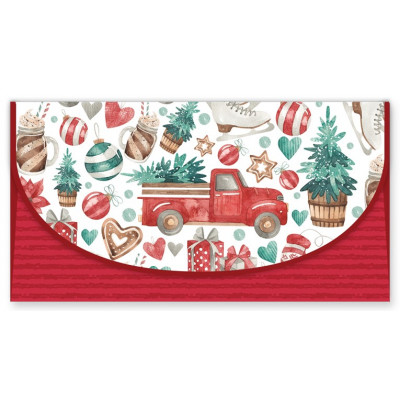 Vánoční obálka na peníze - Červená
