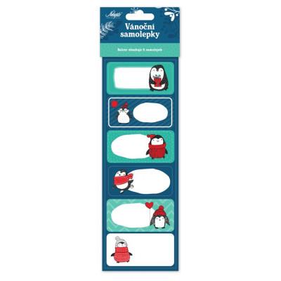 Vánoční samolepky 6 ks - Tučňáci