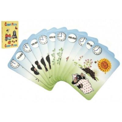 Černý Petr Krtek s hodinami karty