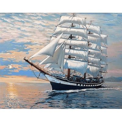 Diamantové malování - plachetnice