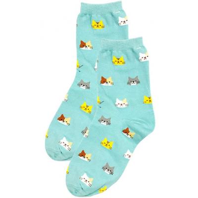 Ponožky s kočičkami - modré - vel. uni