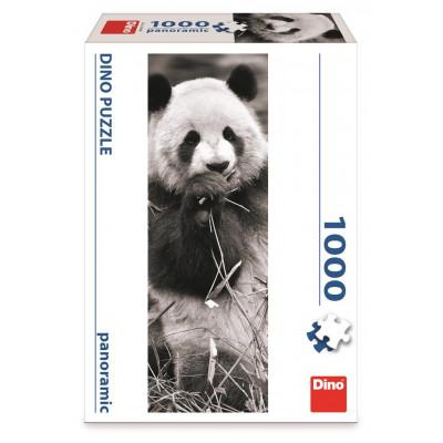 Dino Panda v trávě panoramic puzzle 1000 dílků