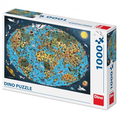 Dino Kreslená mapa Světa puzzle 1000 dílků