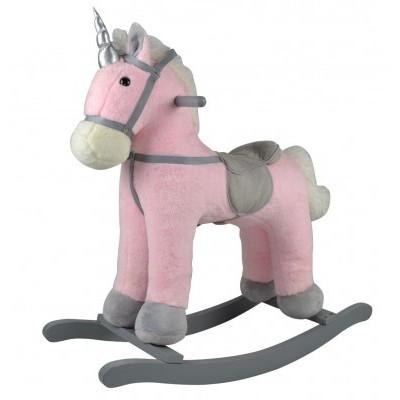 Kůň houpací růžový jednorožec plyš na baterie 71cm se zvukem a pohybem nosnost 50kg