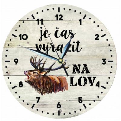 Dřevěné hodiny 24 cm - Pro myslivce