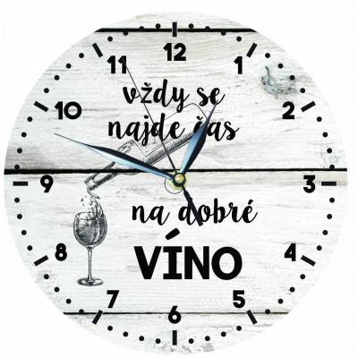 Dřevěné hodiny 24 cm - Čas na víno
