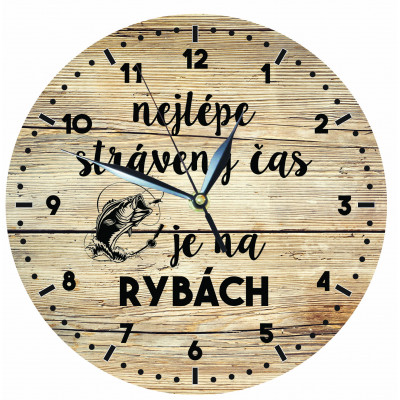 Dřevěné hodiny 24 cm - Pro rybáře