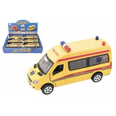 Auto ambulance kov/plast 15cm na baterie se světlem se zvukem na zpětné natažení