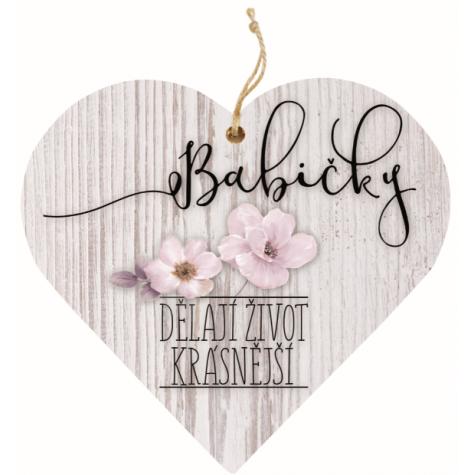 Dřevěné srdce 13 cm - Babička