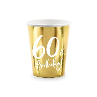 Kelímky papírové 6 ks - zlaté - 60