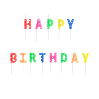 Narozeninové svíčky Happy Birthday - barevné