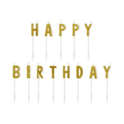 Narozeninové svíčky Happy Birthday - zlaté