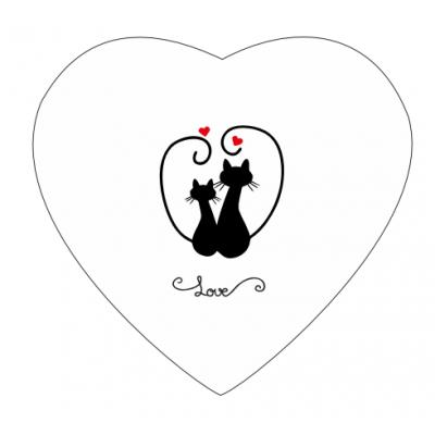 Dárková plechovka srdce Kočičky - mix mléčných čokoládek