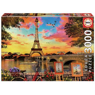 EDUCA Puzzle Západ slunce v Paříži 3000 dílků